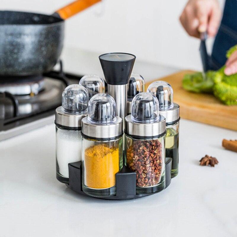 Nouveau pot de verre d'assaisonnement rotatif 6 pièces ensemble de mode ménagère cuisine conteneur de stockage Condiment bouteille outils d'aide à la cuisson