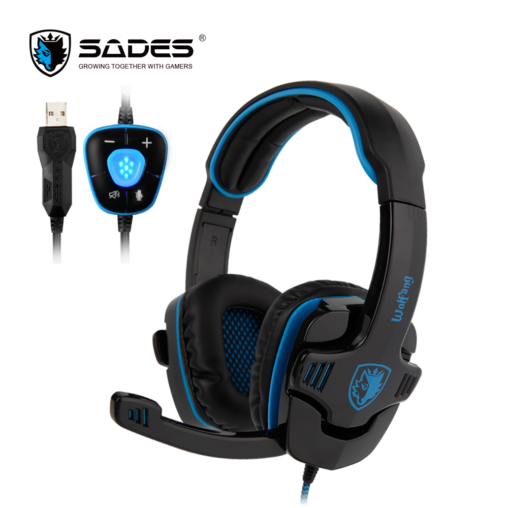 SADES WOLFANG Virtual 7.1 Surround Sound Gaming Headphones Rotatable Microphone Headband PC headphone Headset for Gamer sades locust plus virtual 7 1 surround sound headphones high quality headset headphone for gamer with rgb light