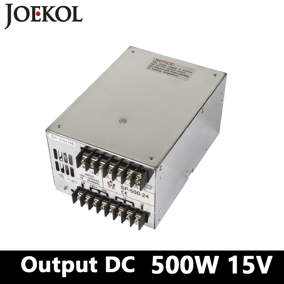 PFC switching power supply 500W 15v 33A,Single Output ac dc power supply for Led Strip,AC110V/220V Transformer to DC15