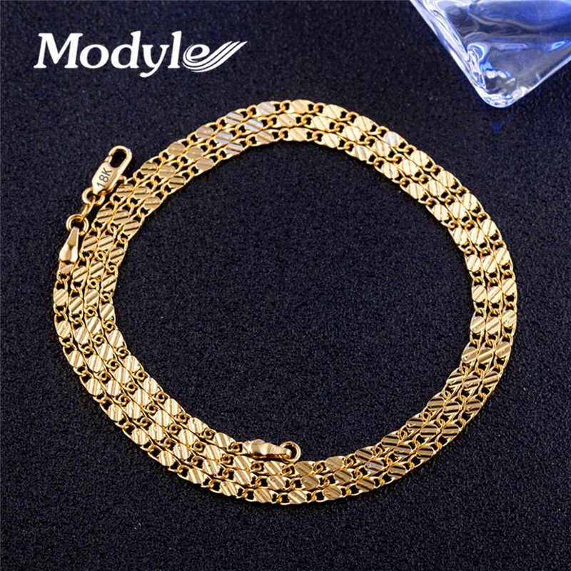 Modyle Hot sale New 2mm Gold Color Man Necklace 40-75cm Chain jewelry