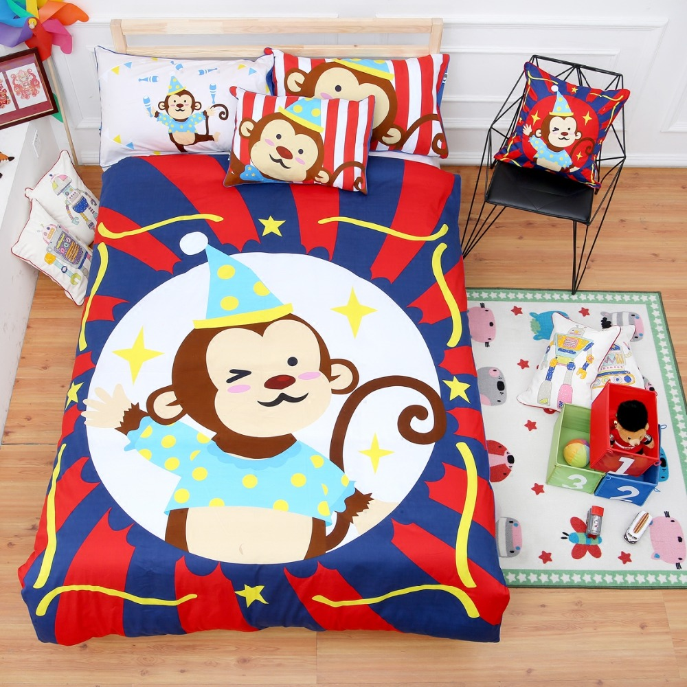 100 cotton children cartoon monkey circus 4pcs bedding set single twin full  size without. Popular Monkey Comforter Twin Buy Cheap Monkey Comforter Twin lots