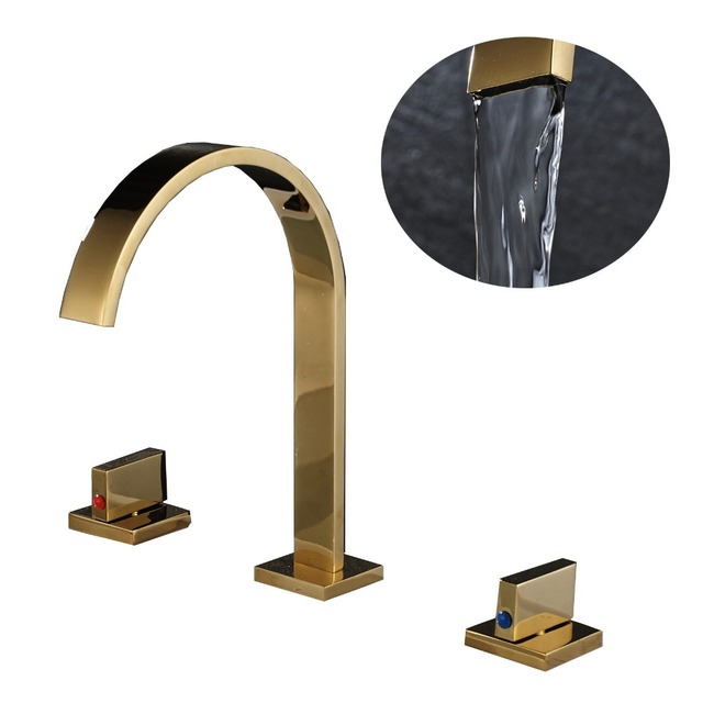 chrome/brushed/orb/gold Bathroom Basin Faucet Hot and Cold Water Faucet Three Holes Two Handle Mixers Tap