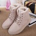 Venda quente mulheres inverno bota de neve lace-up ankle boot feminino cor sólida quente mulher confortável sapatos casuais breve maré SST903