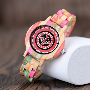 Image 3 - BOBO BIRD WP08 Colorful Bamboo Wood Watch for Women Print Dial Face Wooden Band Quartz Watches as Gift Accept OEM Dropshipping