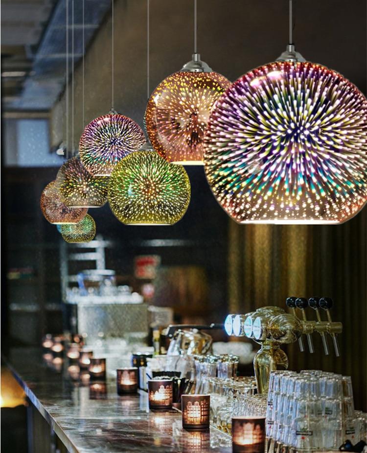 Image 4 - LuKLoy LED Pendant Lights Mirror Glass Ball Firework Lampshade Pendant Lamp for Loft Restaurant Bar Dining Room Kitchen Island-in Pendant Lights from Lights & Lighting