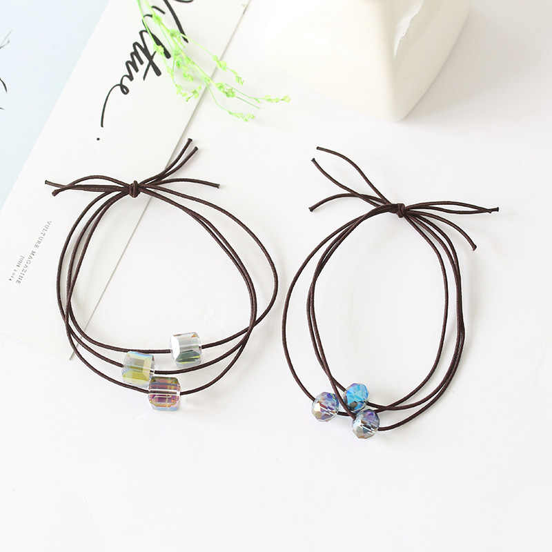 Three Crystal Beads Three-layer Brown Elastic Hair Bands Ponytail Holders Headwear Hair Accessories for Women