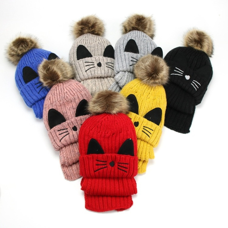 Bomhcs Cute Babys Cat Beanie 100% Handmade Knitted Kids Ears Hat For Kids Ages 3-8 Fast Color Apparel Accessories Girl's Hats
