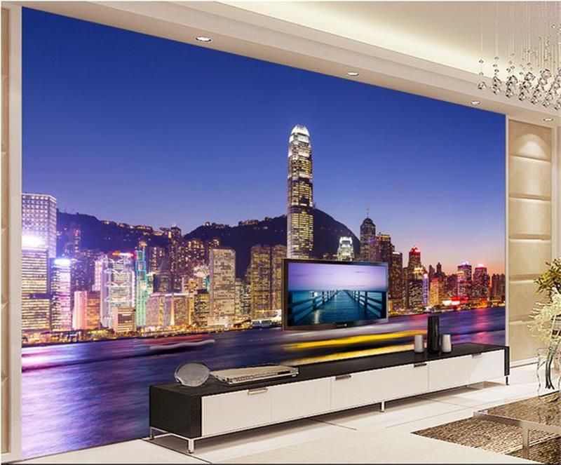 3d wallpaper/custom room mural/photo wallpaper/Night view Shanghai City/TV/background wall painting/sticker/sofa/bedding room free shipping custom 3d mural living room sofa bedroom modern office background wallpaper shop in singapore city at night