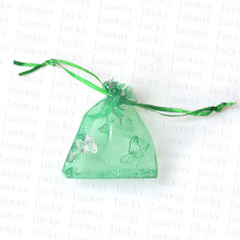 50pcs 7x9cm Colorful butterfly Christmas Wedding voile Organza Bags Jewlery packing Gift gift & Pouches