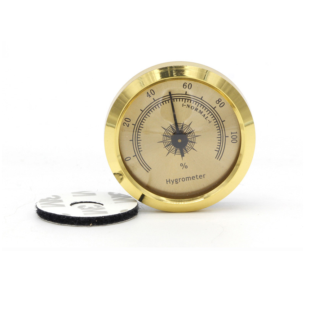 GALINER  Travel Cigar Humidor Hygrometer Round Gold Accurate  Hygrometer Portable Cigar Accessories For Cohiba Cigars