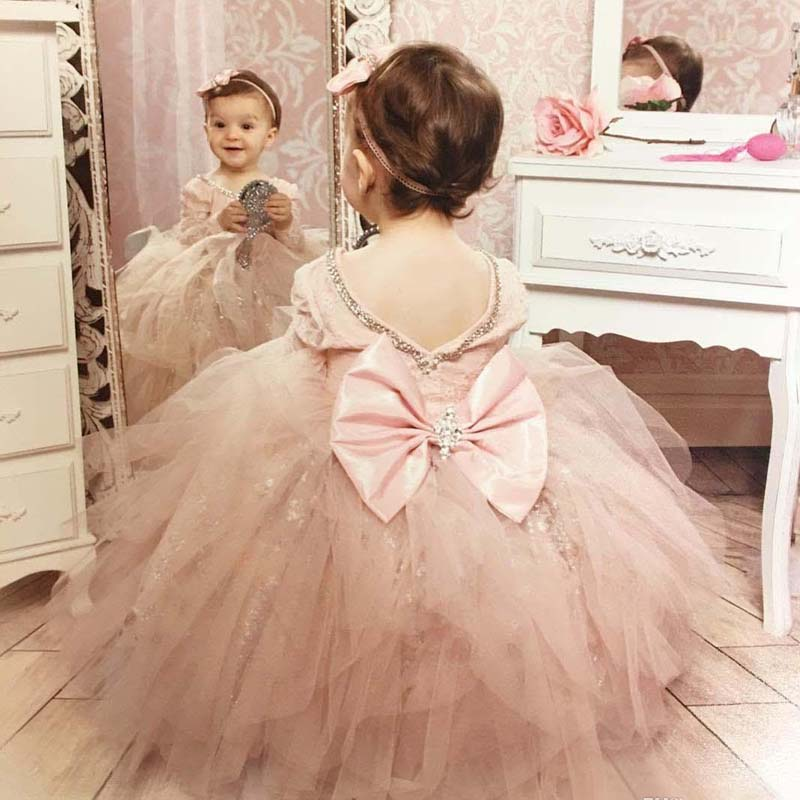 2017 Cute Blush Pink Toddler Tulle Ball Gown Flower Girls Dresses ...