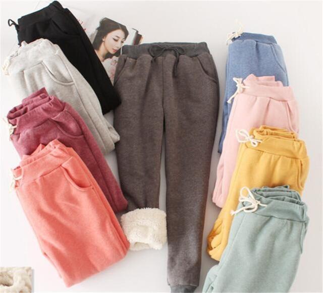 Women Pant Winter Thick Lambskin Cashmere Pants Warm Casual Pants Loose Harlan Pants Long Trousers 4