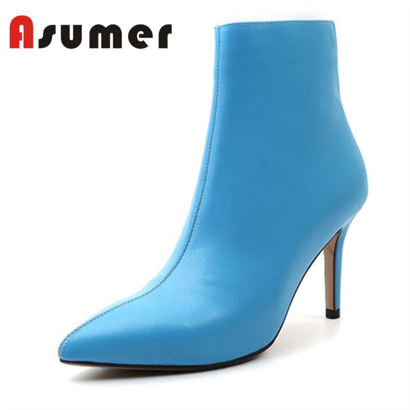 ASUMER NEW ARRIVE 2018 popular adult ankle boots for women solid winter boots pointed toe simple zip genuine leather bootsASUMER NEW ARRIVE 2018 popular adult ankle boots for women solid winter boots pointed toe simple zip genuine leather boots