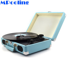 MPooling Portable Bluetooth Suitcase Turntables w/ Built-in Speakers Vinyl Record Player Phono Aux-in RCA Line-out AC110V~240V