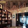 DIY High Or Bulb American Retro Restaurant Nordic Simple Bar Cafe Hemp Rope Chandeliers