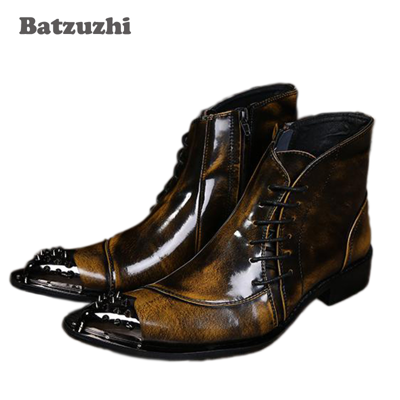 где купить Batzuzhi Western Men Ankle Boots Ponited Iron Toe Short Leather Boots Brown Men's Party Botas Brown Dress Boots Shoes, 38-46 по лучшей цене
