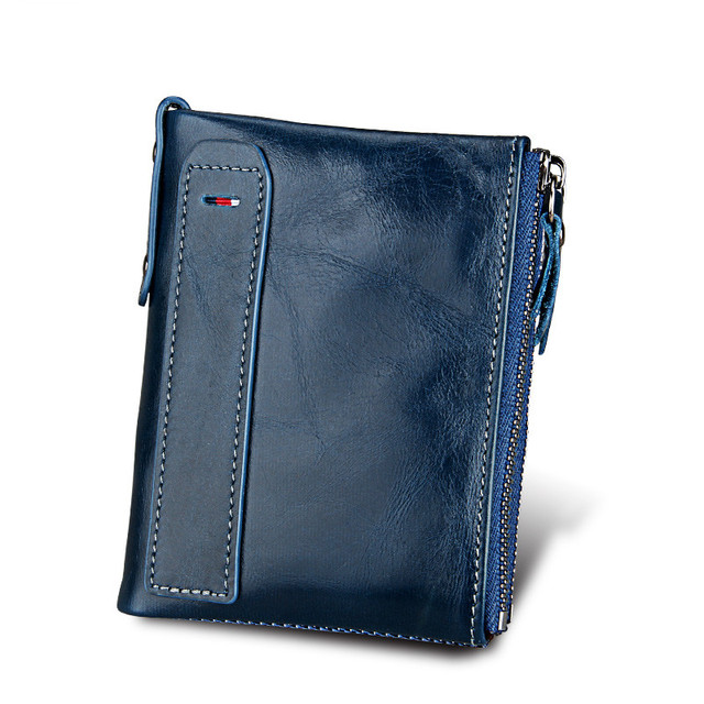 Mens 100% Genuine Leather RFID Small Zipper Wallet