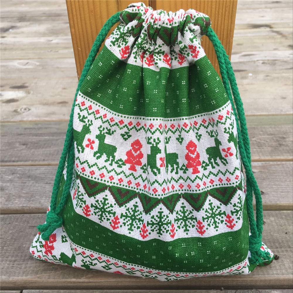 YILE 1pc Cotton Linen Drawstring Party Gift Bag Christmas Tree Deer Snowflake Green N830c
