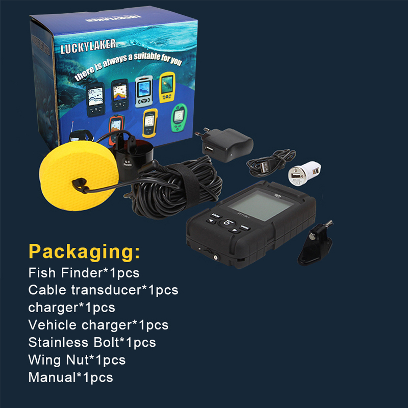 """Image 5 - LUCKY Portable Fish Finder 2.8"""" Color LCD 100M Depth Detection Dual Sonar Frequency Fishfinder Wired FF718LiCD T-in Fish Finders from Sports & Entertainment"""
