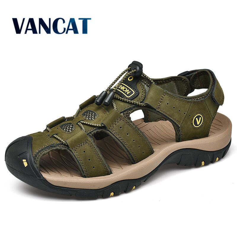 Men Sandals Sneakers Causal-Shoes Outdoor Genuine-Leather Fashion Summer Casual New Man