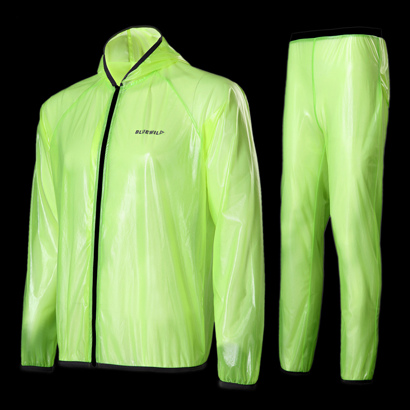 Free shipping adult raincoat pants suit outdoor sports mountain bike poncho lightweight breathable transparent Split rianwear
