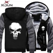 Xijun США Размеры Каратель Толстовки Кофты для мужчин из плотного флиса на молнии с капюшоном куртки взрослых Спортивная пальт