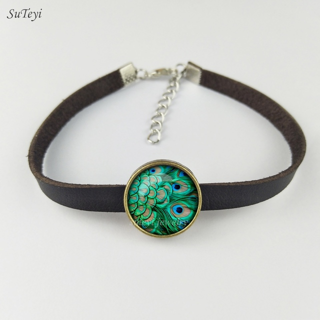 SUTEYI 2017 New Peacock Feather Bracelet Abstract Feathers Jewelry Art Nouveau Glass Peacock Photo Leather Bracelets For Women