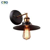 Vintage Simple Black Iron Shade Wall Lamp Bar Club Indoor Bedroom Wall Lighting E27 Lamp Holder