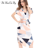 DeRuiLaDy 2017 Women Summer Long Dress Fashion Print Elegant Cute Dresses Womens Deep V Sexy Sheath