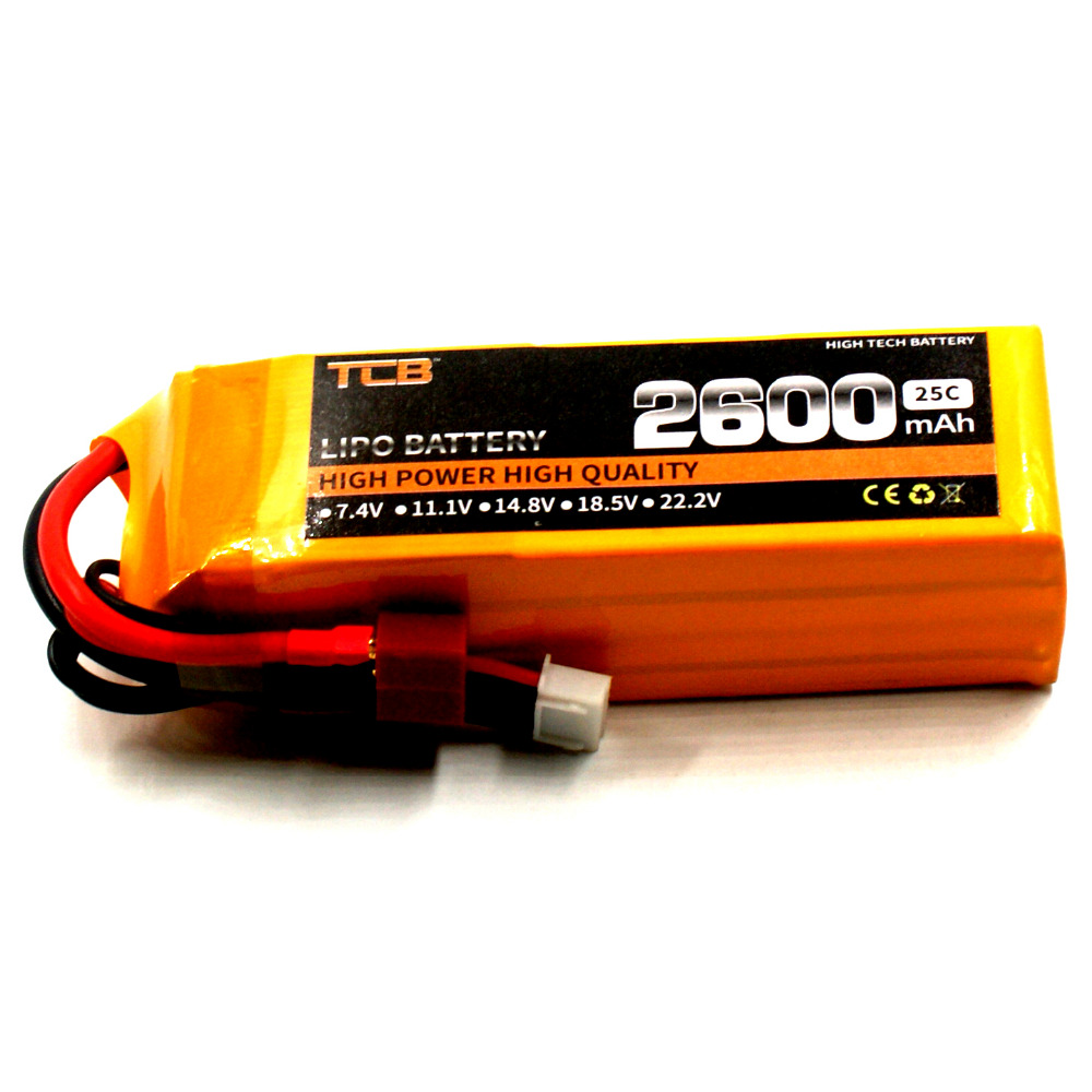 TCB RC Lipo battery 14.8v 2600mAh 25C 4s for rc airplane AKKU free shipping 1s 2s 3s 4s 5s 6s 7s 8s lipo battery balance connector for rc model battery esc