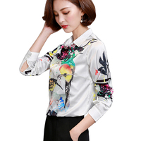 Harajuku Bird Printing Long Sleeve Women Blouse 2018 New Turn Down Collar Ladies Work Shirts Faux