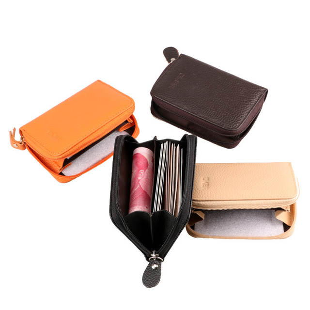 ec18c72f71e4 US $4.99 50% OFF|DKER New Men Women Genuine Leather Coin Purse Fashion  Zipper Open ID Holders Black Brown Rose Purple 7 Colors Short Mini  Wallet-in ...