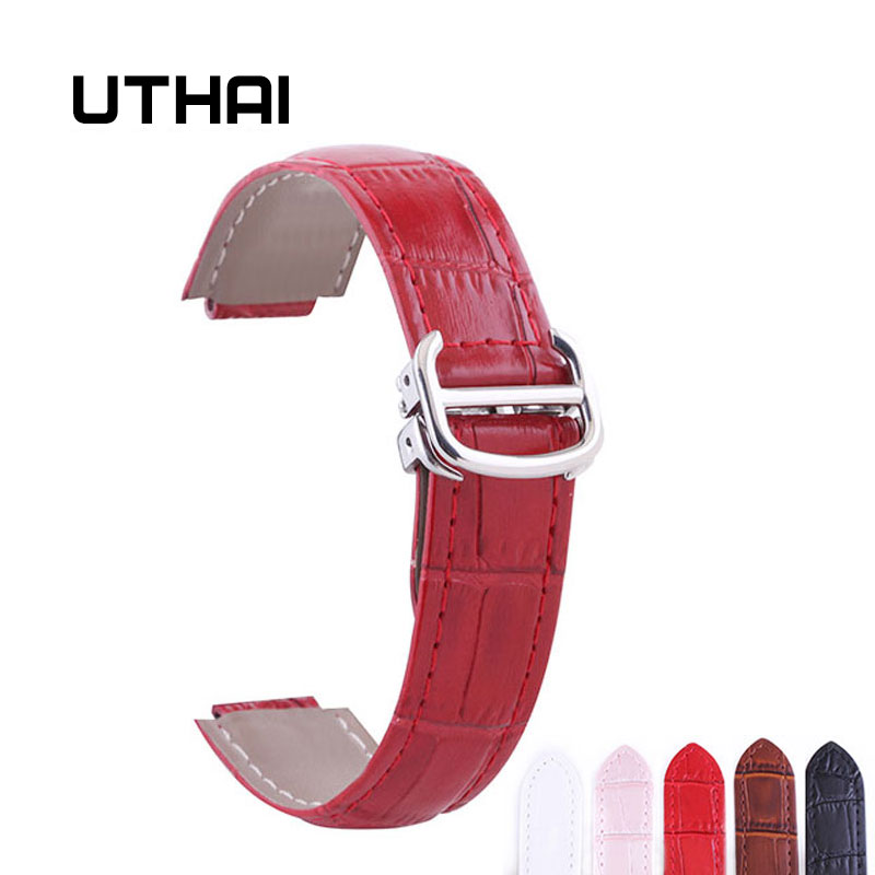 UTHAI P05 14-9mm,18-11mm,20-12mm Genuine Leather Watchbands 20mm Watch Strap For Cartier Blue Balloon Watch Leather Strap