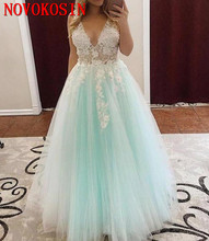 2019 Mint Green Quinceanera Dresses V Neck Backless White Appliques Prom Gowns For Sweet 15 vestidos de anos Plus Size