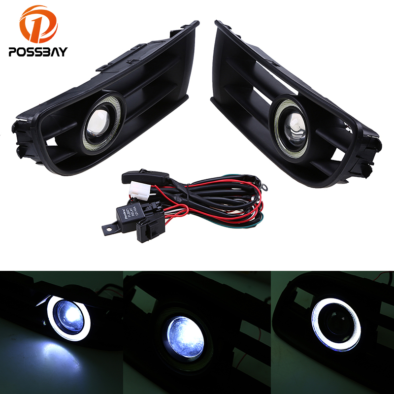 POSSBAY Car Fog Lights LED Lamp Angle/Devil Eyes Lamp for VW Polo Classic 2004 2005 2006 White Auto Halo Rings Daylights все цены