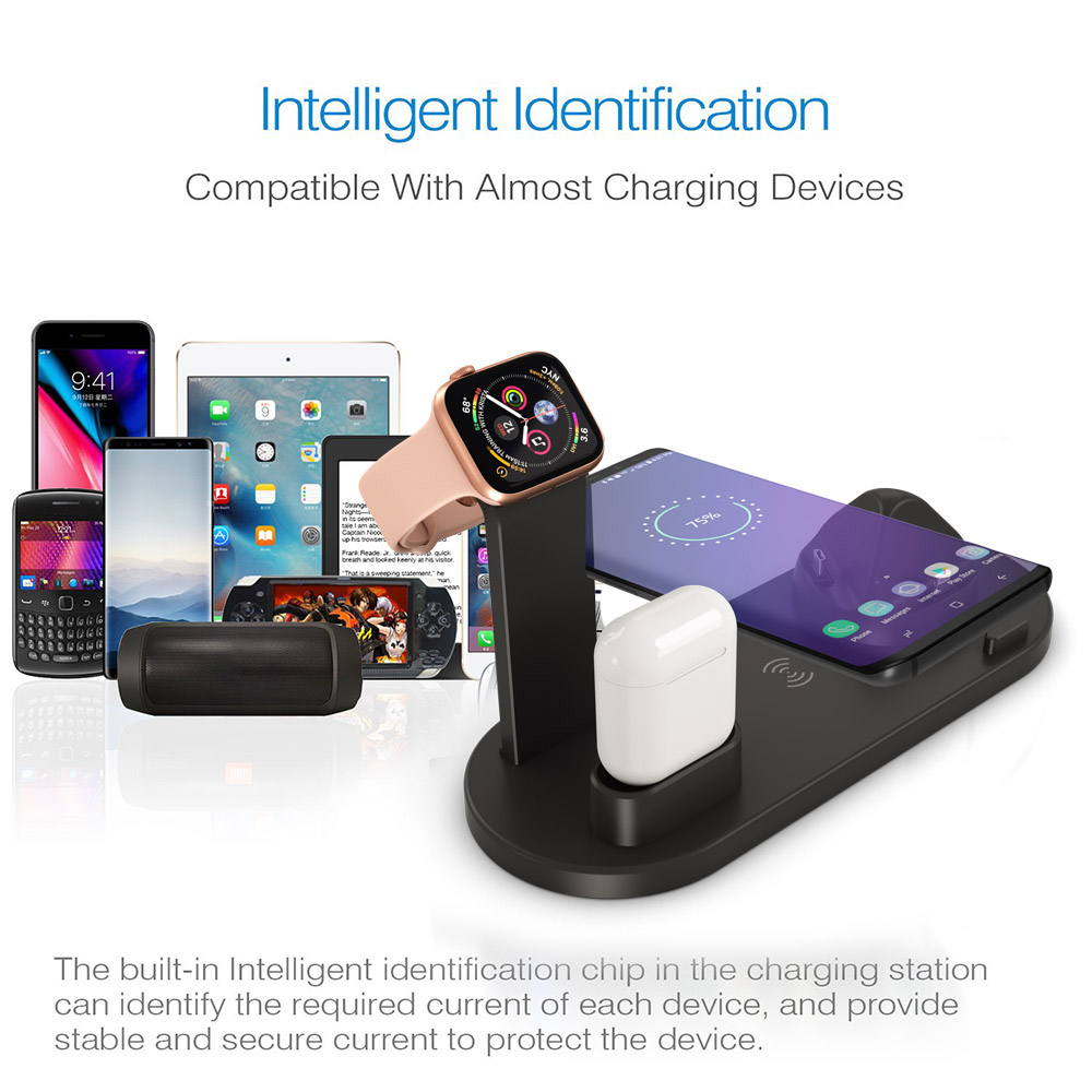 FDGAO 4 in 1 Wireless Charging Stand For Apple Watch 6 5 4 3 iPhone 12