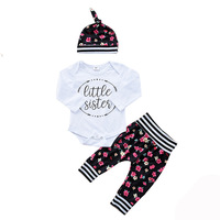 Godier 2017 Autumn Winter Baby Boy Clothing Sets Newborn Baby Girl Cotton Letter Print Romper Pants