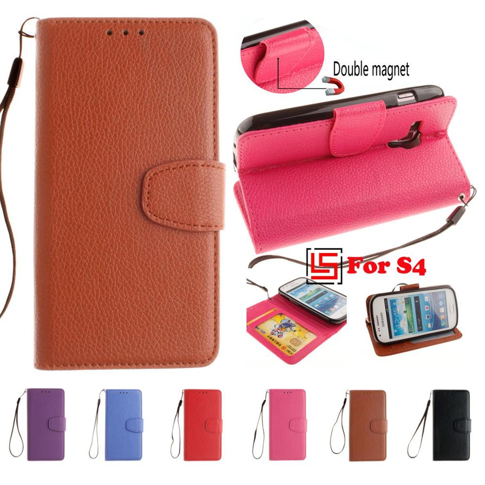 PU Leather Leathe Lether Flip Filp Wallet Phone Case coque shell caso Cover For Samsung Samsug Galaxy S4 GT I9500 S 4 GT I9505
