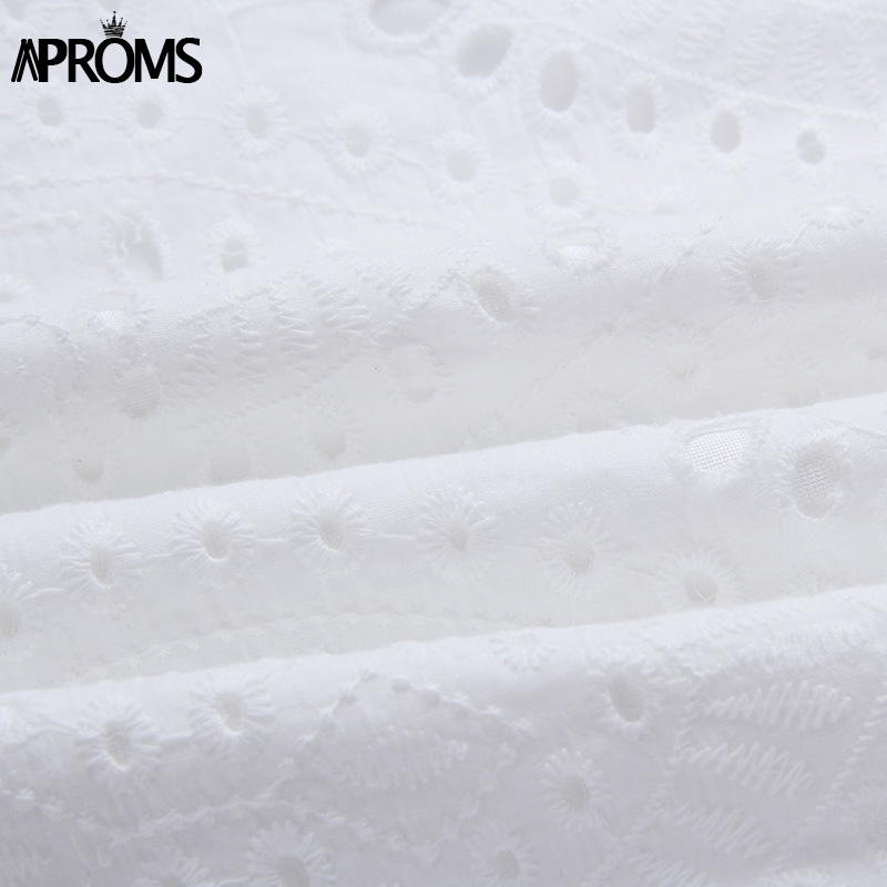 Aproms Elegant White Crochet Lace Dress Women 2019 Summer 3 4 Sleeve Casual Tunic Dress Beach Loose Short Dress Vestidos in Dresses from Women 39 s Clothing