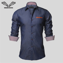 Men's Shirt 2016 Europe Size New Fashion Designer Casual Long Sleeve Slim Square Collar Leather Pocket Solid Cotton Shirts N455