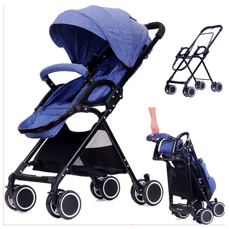 цена High Landscape Ultra Light Baby Carriage Stroller Portable Lying Flat Travel Car Umbrella Baby Pram Pushchair Removable Footrest