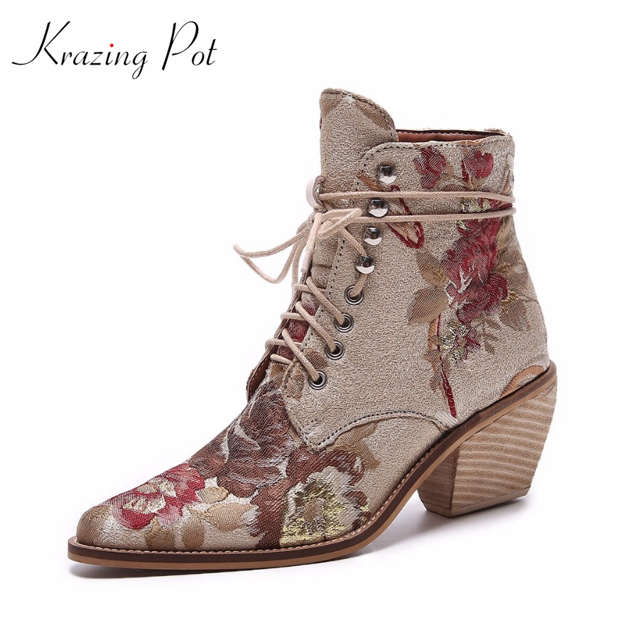 Krazing Pot oriental embroidery lace up boots thick high heels European pointed toe women fashion wedding party ankle boots L01 krazing pot genuine leather sheep skin thick high heels square toe zipper boots women superstar party western mid calf boots l17