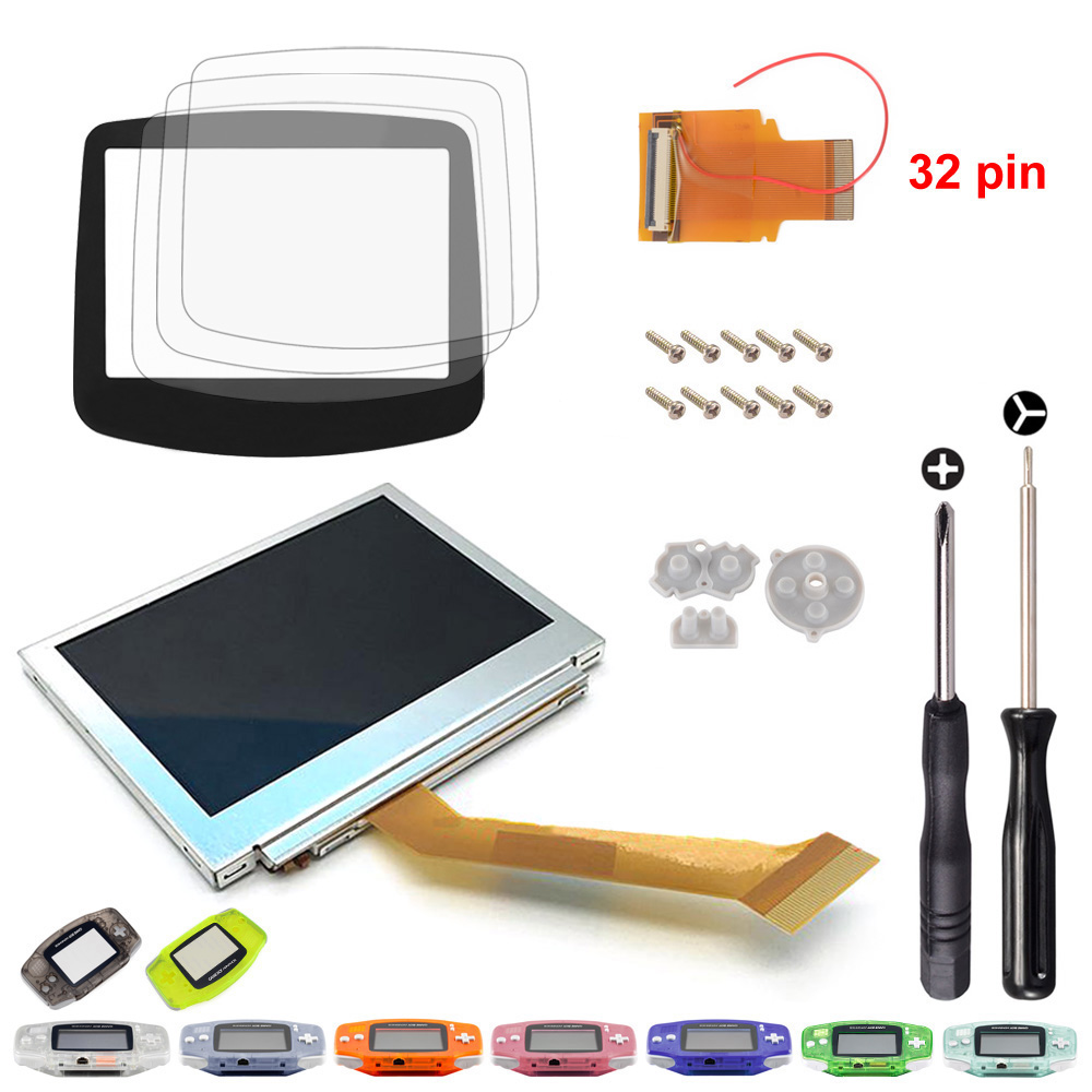 Replacement Backlit LCD Screen AGS-101 w/ Tools For Gameboy Advance /SP 32 Pin replacement lcd module w disassemble tools for ipod nano 3