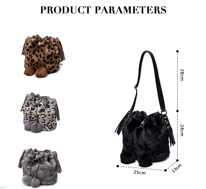Leopard Bag Women Faux Fur Bucket Drawstring Bag Leisure Travel bag Leopard  Fluff Tassel Hairball Decoration Bags-in Travel Bags from Luggage & Bags on  ...