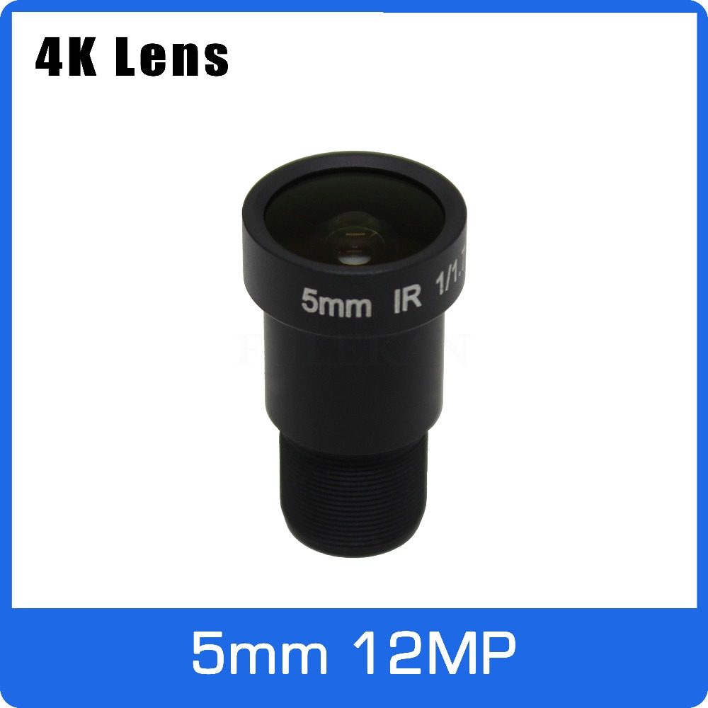 4K Lens 12Megapixel Fixed M12 Lens 5mm 110 Degree 1/1.7 Inch For IMX226 IMX178 4K IP CCTV Camera Or 4K Action Camera