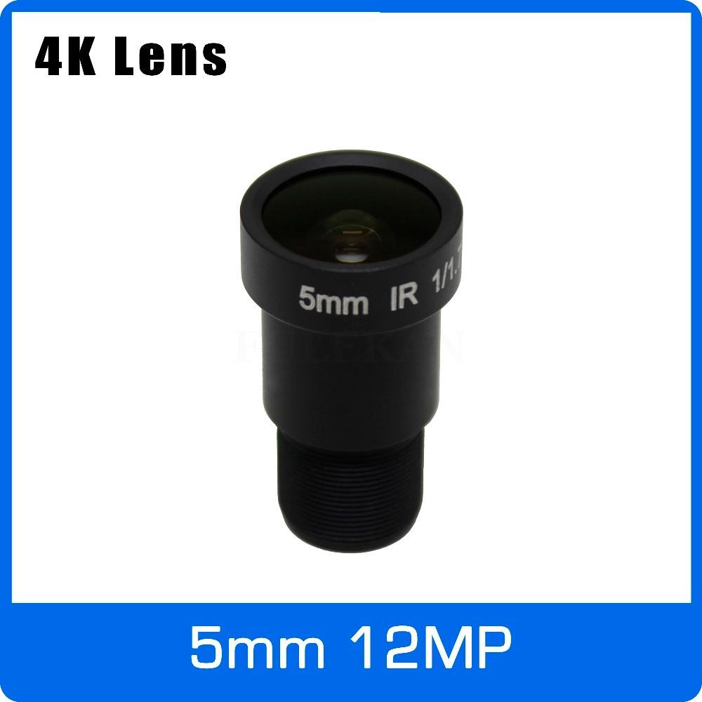 4K Lens 12Megapixel Fixed M12 Lens 5mm 110 Degree 1/1.7 Inch For IMX226 IMX178 4K IP CCTV Camera Or 4K Action Camera