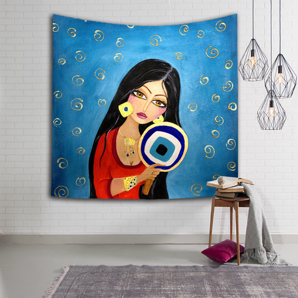 India Abstract Tapestry Wall Hanging African Woman Watercolor Printed Mandala Macrame Art Polyester Home Decoration