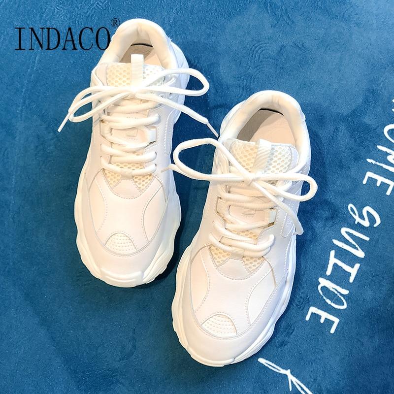Vulkanisierte Damenschuhe Begeistert Turnschuhe Frauen Leder Weiß Casual Schuhe Mode Plattform 2019 Indaco 6 Cm 35-42 Um Jeden Preis