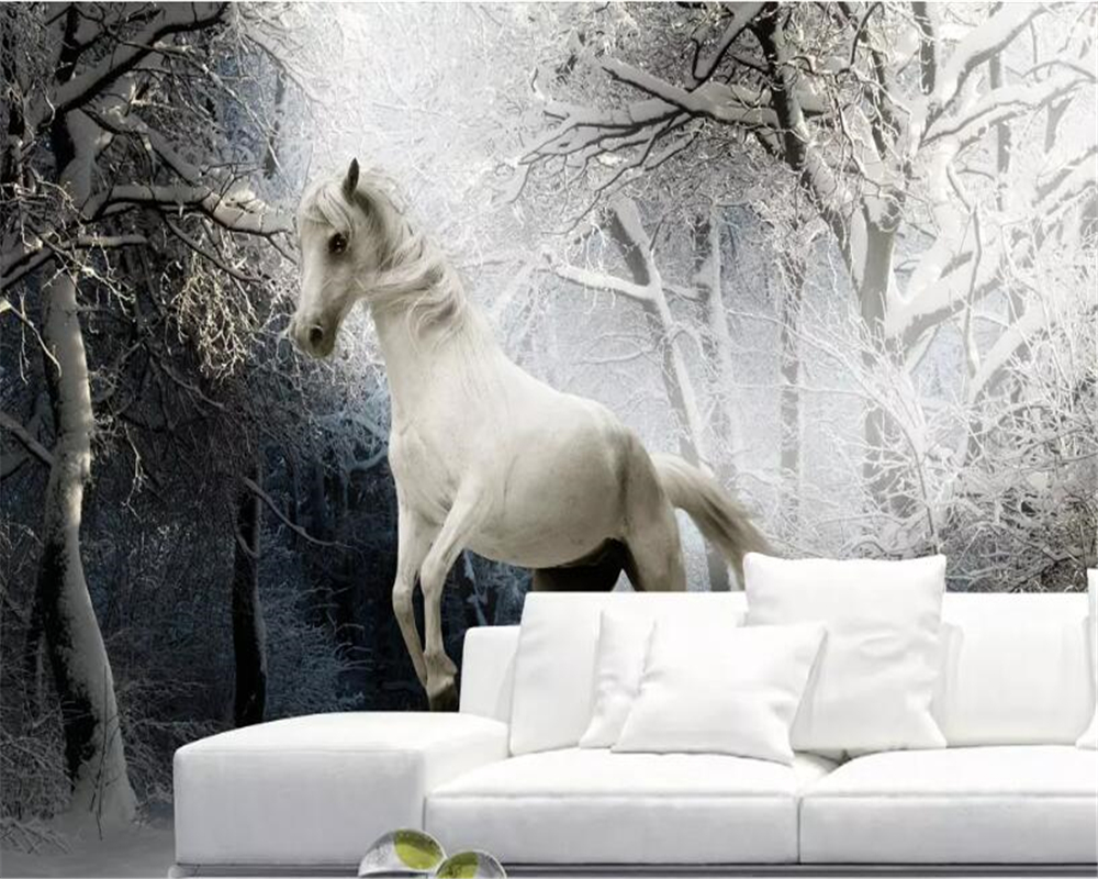 Us 88 45 Offbeibehang 3d Wall Wallpaper Snow Scene Black And White Art Horse Gallop Photo Wallpaper Background Wallpapers For Living Room In