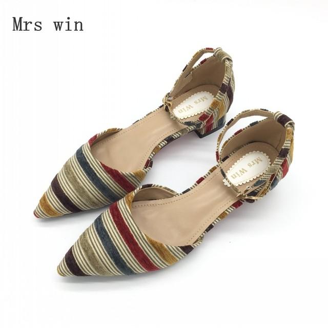 2018 Newest Shoes Women Fashion Female Pumps Stripe Shallow Square Heel Buckle Strap Summer Ladies Work Shoes Footwear Plus Size